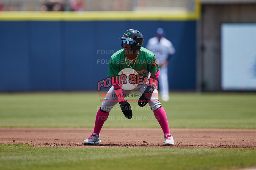 Luisangel Acuna (2) of the Down East Wood Ducks takes his lead off of first base against the Kannapolis Cannon Ballers at Atrium Health Ballpark on May 9, 2021 in Kannapolis, North Carolina. (Brian Westerholt/Four Seam Images)