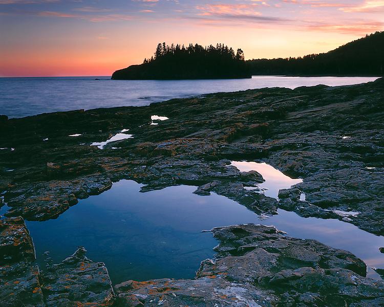 Sunset glow on Lake Superior; Splitrock Lighthouse State Park, MN
