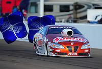 Feb. 19, 2012; Chandler, AZ, USA; NHRA pro stock driver Jason Line during the Arizona Nationals at Firebird International Raceway. Mandatory Credit: Mark J. Rebilas-