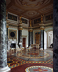 Syon House, Isleworth, Middlesex, England, 1760 - 1769. The Ante-Room with scagolia floor and columns.
