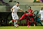 Baha Abdelrahman Suleiman of Jordan (L) fights for the ball with Alexander Oluwatayo Akande of Hong Kong (R) during the International Friendly match between Hong Kong and Jordan at Mongkok Stadium on June 7, 2017 in Hong Kong, China. Photo by Cris Wong / Power Sport Images
