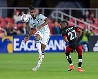 WASHINGTON, DC - MAY 13: Nnamdi Chinoso Offor #9 of Chicago Fire FC crosses the ball during a game between Chicago Fire FC and D.C. United at Audi FIeld on May 13, 2021 in Washington, DC.