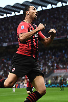 Zlatan Ibrahimovic of AC Milan celebrates after scoring the goal of 2-0 during the Serie A 2021/2022 football match between AC Milan and SS Lazio at Giuseppe Meazza stadium in Milano (Italy), August 29th, 2021. Photo Image Sport / Insidefoto