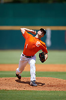 Kyle Ayers (1) of Notre Dame High School in Sherman Oaks, CA during the Perfect Game National Showcase at Hoover Metropolitan Stadium on June 19, 2020 in Hoover, Alabama. (Mike Janes/Four Seam Images)