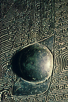 China:  Wine vessel (lei)--detail: eye, Shang dynasty, 13th - 11th C.  B.C.  Bronze. Palace Museum, Beijing.  Great Bronze Age of China, exhibition.