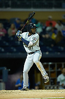 Travis Demeritte (12) of the Gwinnett Braves at bat against the Durham Bulls at Durham Bulls Athletic Park on April 20, 2019 in Durham, North Carolina. The Bulls defeated the Braves 3-2 in game two of a double-header. (Brian Westerholt/Four Seam Images)