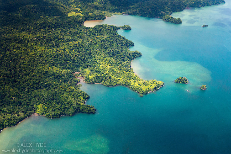 Aerial view of the Osa Peninsula coastline, Costa Rica. May