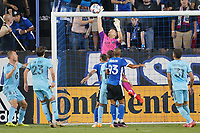 SAN JOSE, CA - AUGUST 17: JT Marcinkowski #1 of the San Jose Earthquakes during a game between Minnesota United FC and San Jose Earthquakes at PayPal Park on August 17, 2021 in San Jose, California.