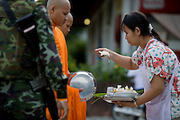 Buddhist monks are given protection by the military as they go about their daily duties. Monks, policemen, teachers, government officials and other civil servants, are all targets in this conflict. The insurgency in Southern Thailand began as a conflict between the Malay muslim population and central government, but now the boundaries have become blurred and various guerilla groups have become involved. No-one seems certain as to who is fighting who. As of March 2008, the insurgency had claimed as many as 3,000 lives.
