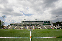 An official walks the field before the game at the Ridley Athletic Complex in Baltimore, MD.  Loyola defeated Georgetown, 11-6.