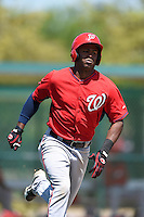 Washington Nationals outfielder Wilman Rodriguez (1) during a minor league spring training game against the Atlanta Braves on March 26, 2014 at Wide World of Sports in Orlando, Florida.  (Mike Janes/Four Seam Images)