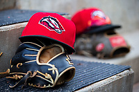 Arkansas Travelers gear sits in the dugout during a Texas League game between the Northwest Arkansas Naturals and the Arkansas Travelers on May 30, 2019 at Arvest Ballpark in Springdale, Arkansas. (Jason Ivester/Four Seam Images)