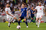 Osako Yuya of Japan (C) fights for the ball with Omid Ebrahimi Zarandini of Iran (L) and Alireza Jahan Bakhsh Jirandeh of Iran (R) during the AFC Asian Cup UAE 2019 Semi Finals match between I.R. Iran (IRN) and Japan (JPN) at Hazza Bin Zayed Stadium  on 28 January 2019 in Al Alin, United Arab Emirates. Photo by Marcio Rodrigo Machado / Power Sport Images