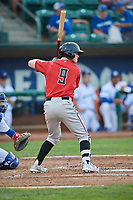 Cash Case (9) of the Billings Mustangs bats against the Ogden Raptors at Lindquist Field on August 18, 2018 in Ogden, Utah. Billings defeated Ogden 6-4. (Stephen Smith/Four Seam Images)