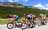 8th July 2021; Nimes, France; KUNG Stefan (SUI) of GROUPAMA - FDJ, VAN MOER Brent (BEL) of LOTTO SOUDAL during stage 12 of the 108th edition of the 2021 Tour de France cycling race, a stage of 159,4 kms between Saint-Paul-Trois-Chateaux and Nimes.