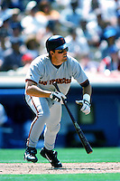 Bill Mueller of the San Francisco Giants bats during a 1999 Major League Baseball season game against the Los Angeles Dodgers at Dodger Stadium in Los Angeles, California. (Larry Goren/Four Seam Images)