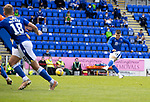 St Johnstone v Dundee United…22.08.21  McDiarmid Park    SPFL<br />Glenn Middleton's free kick is blocked<br />Picture by Graeme Hart.<br />Copyright Perthshire Picture Agency<br />Tel: 01738 623350  Mobile: 07990 594431
