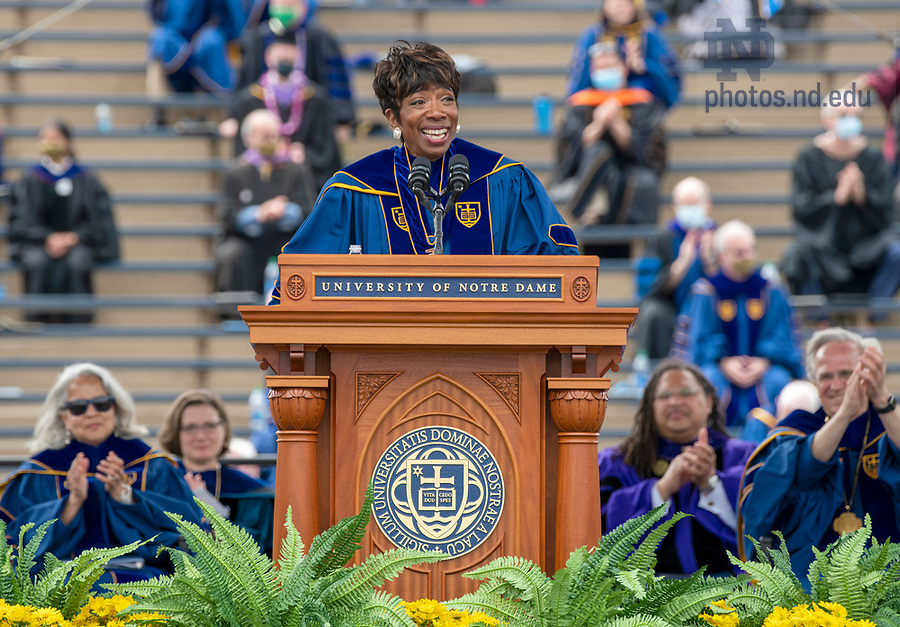May 23, 2021; Laetare Medal winner Carla Harris delivers her address during the 176th Commencement Ceremony at Notre Dame Stadium. (Photo by Barbara Johnston/University of Notre Dame)