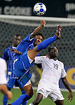 08 July 09: The United States' Feeddy Adu (19) is outjumped for a header during their match with Honduras  at the CONCACAF Gold Cup at RFK Stadium in Washington, DC.