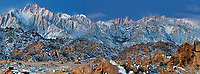 902000041 panoramic view -  winters dawn light on mount whitney mount russell lone pine peak and the eastern sierras mountain range with the spectacular granite boulders of the alabama hills in the foreground near lone pine in kern county california