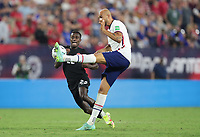 NASHVILLE, TN - SEPTEMBER 5: John Brooks #6 of the United States clears a ball during a game between Canada and USMNT at Nissan Stadium on September 5, 2021 in Nashville, Tennessee.