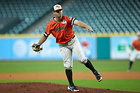 Sam Houston State Bearkats starting pitcher Seth Ballew (11) follows through on his delivery against the Mississippi State Bulldogs during game eight of the 2018 Shriners Hospitals for Children College Classic at Minute Maid Park on March 3, 2018 in Houston, Texas. The Bulldogs defeated the Bearkats 4-1.  (Brian Westerholt/Four Seam Images)