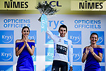 Egan Bernal (COL) Team Ineos retains the young riders White Jersey at the end of Stage 16 of the 2019 Tour de France running 177km from Nimes to Nimes, France. 23rd July 2019.<br /> Picture: ASO/Pauline Ballet   Cyclefile<br /> All photos usage must carry mandatory copyright credit (© Cyclefile   ASO/Pauline Ballet)