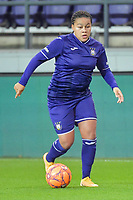 Anderlecht forward Mariam Toloba (19) pictured during a female soccer game between RSC Anderlecht Dames and Northern Irish Linfield Ladies  in the first qualifying round for the Uefa Womens Champions League of the 2020 - 2021 season , Wednesday 4 th of November 2020  in ANDERLECHT , Belgium . PHOTO SPORTPIX.BE | SPP | STIJN AUDOOREN