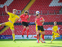 Lincoln City's Adam Jackson scores his side's second goal<br /> <br /> Photographer Andrew Vaughan/CameraSport<br /> <br /> The EFL Sky Bet League One - Saturday 12th September  2020 - Lincoln City v Oxford United - LNER Stadium - Lincoln<br /> <br /> World Copyright © 2020 CameraSport. All rights reserved. 43 Linden Ave. Countesthorpe. Leicester. England. LE8 5PG - Tel: +44 (0) 116 277 4147 - admin@camerasport.com - www.camerasport.com - Lincoln City v Oxford United