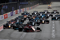6th June 2021; F1 Grand Prix of Azerbaijan, Race Day;  Start of the race, 16 LECLERC Charles mco, Scuderia Ferrari SF21 leads the rest of the field during the Formula 1 Azerbaijan Grand Prix 2021 at the Baku City Circuit