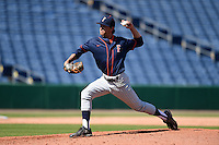 Cal State Fullerton Titans pitcher Maxwell Gibbs (43) delivers a pitch during a game against the Louisville Cardinals on February 15, 2015 at Bright House Field in Clearwater, Florida.  Cal State Fullerton defeated Louisville 8-6.  (Mike Janes/Four Seam Images)