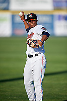 Tri-City ValleyCats designated hitter Enmanuel Valdez (9) warms up before a game against the Vermont Lake Monsters on June 16, 2018 at Joseph L. Bruno Stadium in Troy, New York.  Vermont defeated Tri-City 6-2.  (Mike Janes/Four Seam Images)
