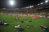 The Warriors warm up before the NRL match between the NZ Warriors and Canterbury Bulldogs at Westpac Stadium, Wellington, New Zealand on Saturday, 11 May 2013. Photo: Dave Lintott / lintottphoto.co.nz