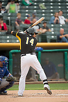 Efren Navarro (14) of the Salt Lake Bees at bat against the Oklahoma City Dodgers in Pacific Coast League action at Smith's Ballpark on May 27, 2015 in Salt Lake City, Utah.  (Stephen Smith/Four Seam Images)