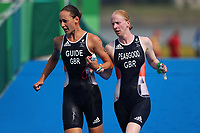 28th August 2021; Tokyo, Japan; Alison Peasgood and Athlete Competition Partner Nikki Bartlett (GBR),  Triathlon Women's  PTVI during the Tokyo 2020 Paralympic Games <br /> at the Odaiba Marine Park in Tokyo, Japan.