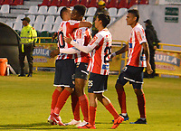TUNJA- COLOMBIA, 18-08-2018:Yony Gonzalez  jugador del Atlético Junior celebra su gol contra el Boyacá Chicó durante partido por la fecha 5 de la Liga Águila II 2018 jugado en el estadio La Independencia de la ciudad de Tunja. /Yony Gonzalez  player of Atletico Junior celerates his goal agaisnt Boyaca Chico during the match for the date 5 of the Liga Aguila II 2018 played at the La Independencia stadium in Tunja city. Photo: VizzorImage / José Miguel Palencia / Contribuidor