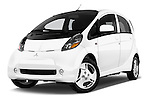 Stock pictures of low aggressive front three quarter view of 2017 Mitsubishi iMiEV 5 Door Micro Car Low Aggressive
