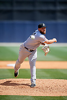 Jackson Generals relief pitcher Joey Krehbiel (24) delivers a pitch during a game against the Biloxi Shuckers on April 23, 2017 at MGM Park in Biloxi, Mississippi.  Biloxi defeated Jackson 3-2.  (Mike Janes/Four Seam Images)