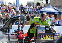 Jul. 29, 2011; Sonoma, CA, USA; NHRA top fuel dragster crew chief Richard Hartman for driver Terry McMillen (not pictured) during qualifying for the Fram Autolite Nationals at Infineon Raceway. Mandatory Credit: Mark J. Rebilas-