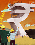 Businessman and an architect constructing rupee sign money building