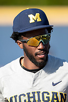 Michigan Wolverines outfielder Christian Bullock (5) before the NCAA baseball tournament against the Connecticut Huskies on June 4, 2021 at Frank Eck Stadium in Notre Dame, Indiana. The Huskies defeated the Wolverines 6-1. (Andrew Woolley/Four Seam Images)