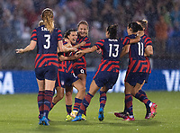 EAST HARTFORD, CT - JULY 1: Tobin Heath #7 of the USWNT celebrates her goal with Lindsey Horan #9 and teammates during a game between Mexico and USWNT at Rentschler Field on July 1, 2021 in East Hartford, Connecticut.