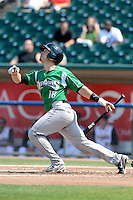 Dayton Dragons catcher Joe Hudson (18) during a game against the Lansing Lugnuts on August 25, 2013 at Cooley Law School Stadium in Lansing, Michigan.  Dayton defeated Lansing 5-4 in 11 innings.  (Mike Janes/Four Seam Images)