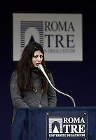 Syrian refugee Nour Essa speaks during a meeting between Pope Francis and students at the Roma Tre University in Rome, on February 17, 2017. Nour Essa is one of the refugees arrived in Rome with Pope Francis after his visit from the Greek island of Lesbos. <br /> UPDATE IMAGES PRESS/Isabella Bonotto<br /> STRICTLY ONLY FOR EDITORIAL USE