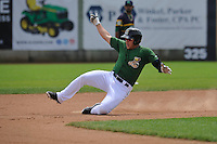 Clinton LumberKings Alex Jackson (35) slides during the Midwest League game against the Beloit Snappers at Ashford University Field on June 12, 2016 in Clinton, Iowa.  The LumberKings won 1-0.  (Dennis Hubbard/Four Seam Images)