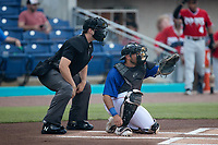 Kannapolis Cannon Ballers catcher Ivan Gonzalez (17) sets a target as home plate umpire Zee Zdenek looks on during the game against the Carolina Mudcats at Atrium Health Ballpark on June 10, 2021 in Kannapolis, North Carolina. (Brian Westerholt/Four Seam Images)
