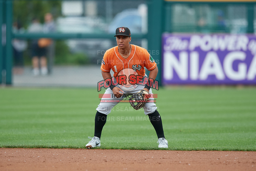 Norfolk Tides second baseman Christopher Bostick (1) during an International League game against the Buffalo Bisons on June 21, 2019 at Sahlen Field in Buffalo, New York.  Buffalo defeated Norfolk 2-1, the first game of a doubleheader.  (Mike Janes/Four Seam Images)
