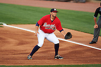 Mississippi Braves first baseman Seth Loman (22) during a game against the Pensacola Blue Wahoos on May 28, 2015 at Trustmark Park in Pearl, Mississippi.  Mississippi defeated Pensacola 4-2.  (Mike Janes/Four Seam Images)