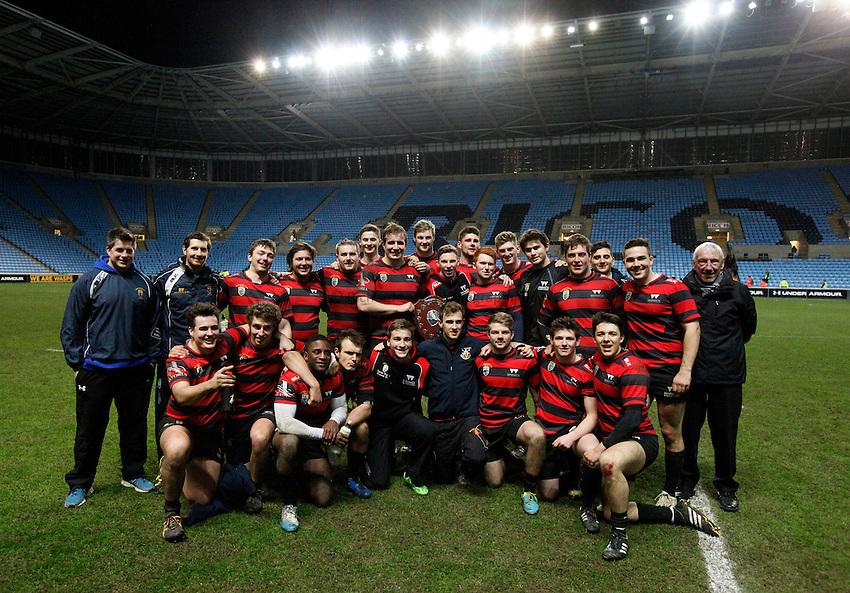 Photo: Richard Lane/Richard Lane Photography. Coventry University v University of Warwick, Varsity Match. 28/02/2016. University Of Warwick celebrate victory.