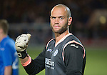St Johnstone v FC Luzern...24.07.14  Europa League 2nd Round Qualifier<br /> Alan Mannus celebrates in his own way<br /> Picture by Graeme Hart.<br /> Copyright Perthshire Picture Agency<br /> Tel: 01738 623350  Mobile: 07990 594431